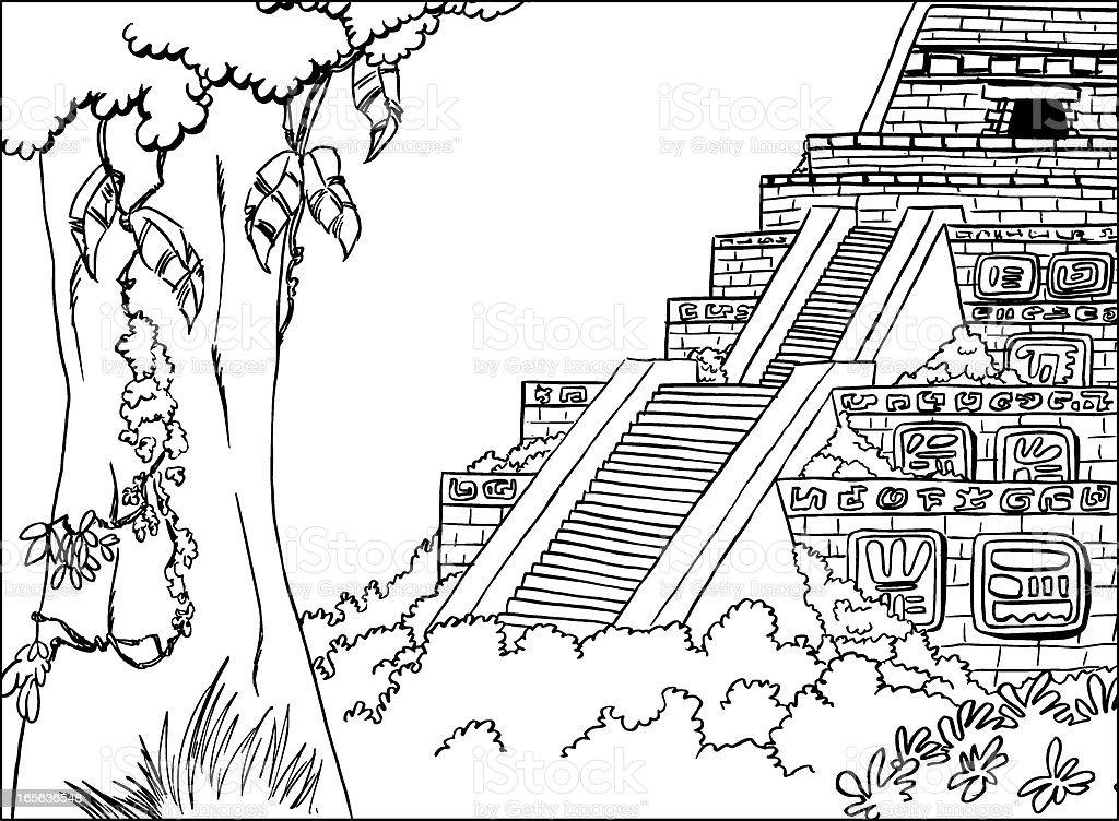 Temple Maya royalty-free stock vector art