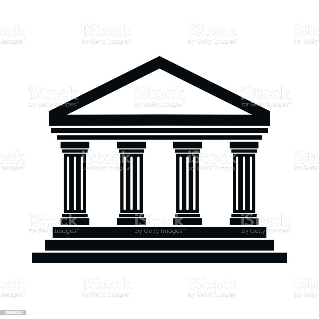 Temple of Concordia at Agrigento, Italy icon in simple style vector art illustration