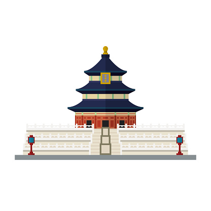 Temple Of Heaven Beijing China Flat Design Vector Icon Stock