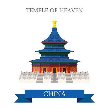 Temple of Heaven in Beijing China. Flat cartoon style historic sight showplace attraction web site vector illustration. World countries cities vacation travel sightseeing Asia Asian Chinese collection