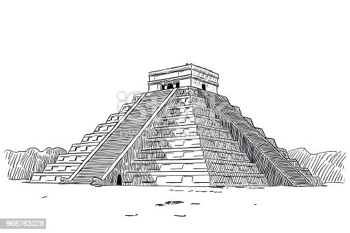 Vector drawing of Temple of Kukulcan in Chichen Itza, Mexico. Old Maya pyramid