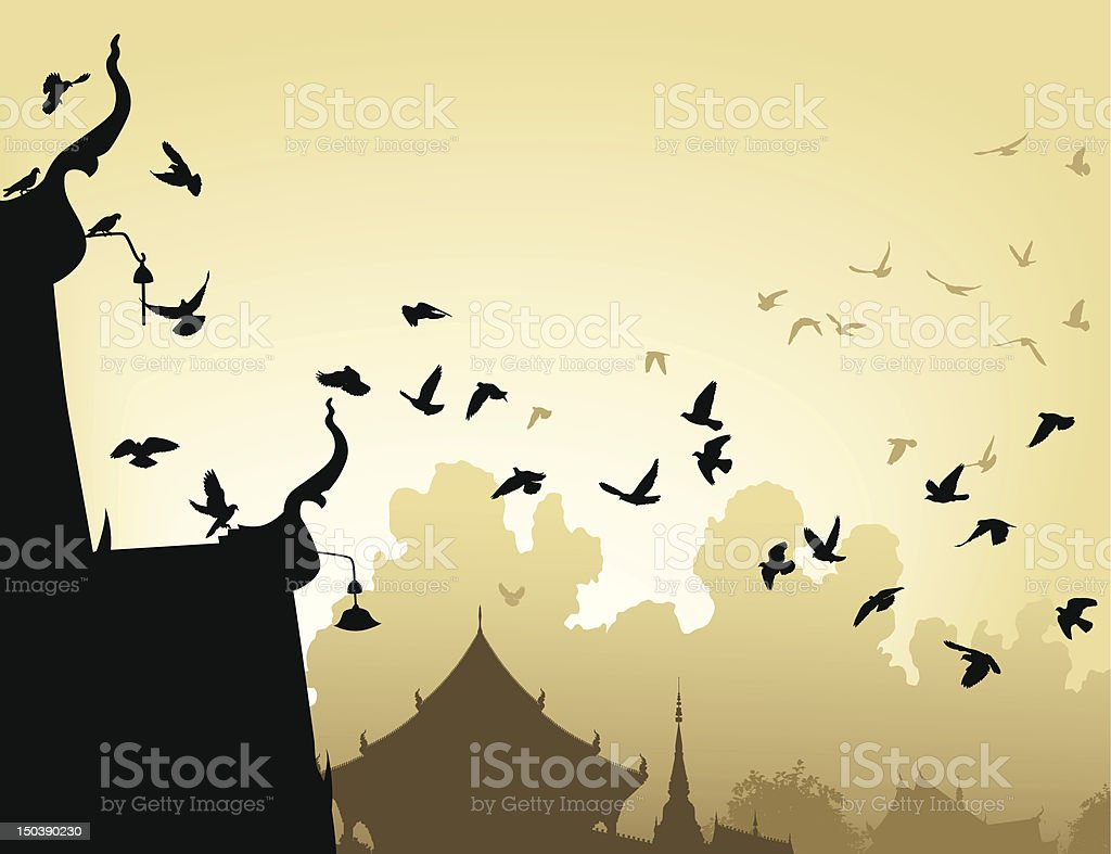 Temple pigeons royalty-free stock vector art