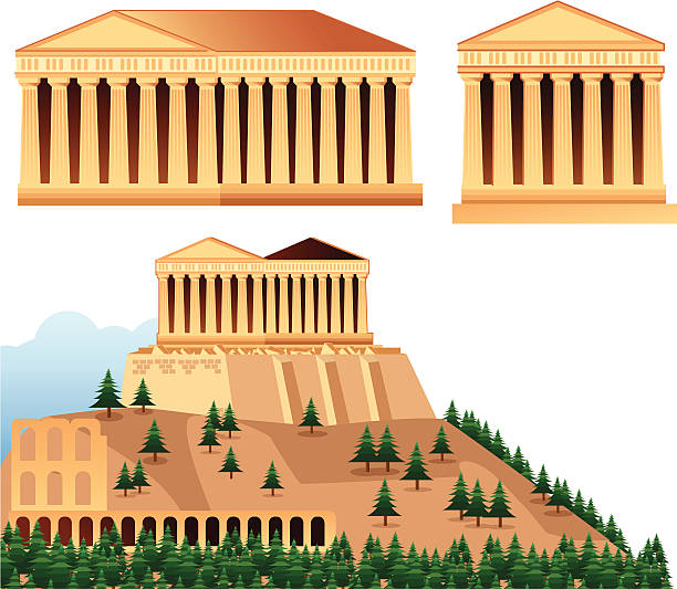 Temples of Athens Vector Temples of Athens ancient greece stock illustrations