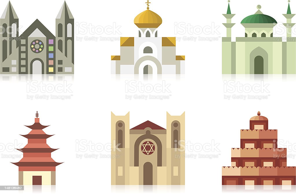 Temples vector art illustration