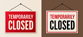 istock Temporarily Closed Signs 1214545419