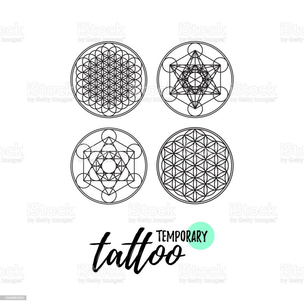 Ilustración De Diseño De Tatuaje Temporal Geometría Sagrada Ornment