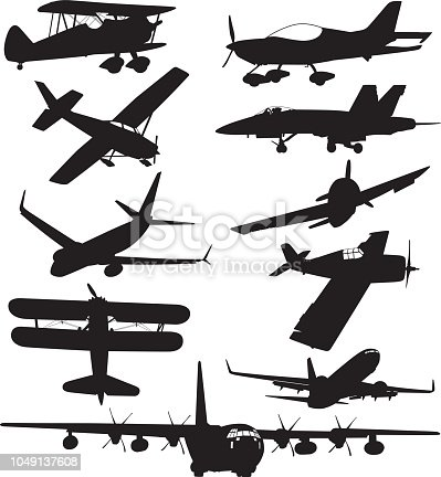 Vector illustration of ten aircraft silhouettes.