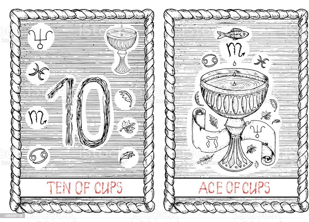 Ten And Ace Of Cups The Tarot Card Stock Illustration
