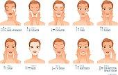 Ten basic women skincare steps. Vector illustration.