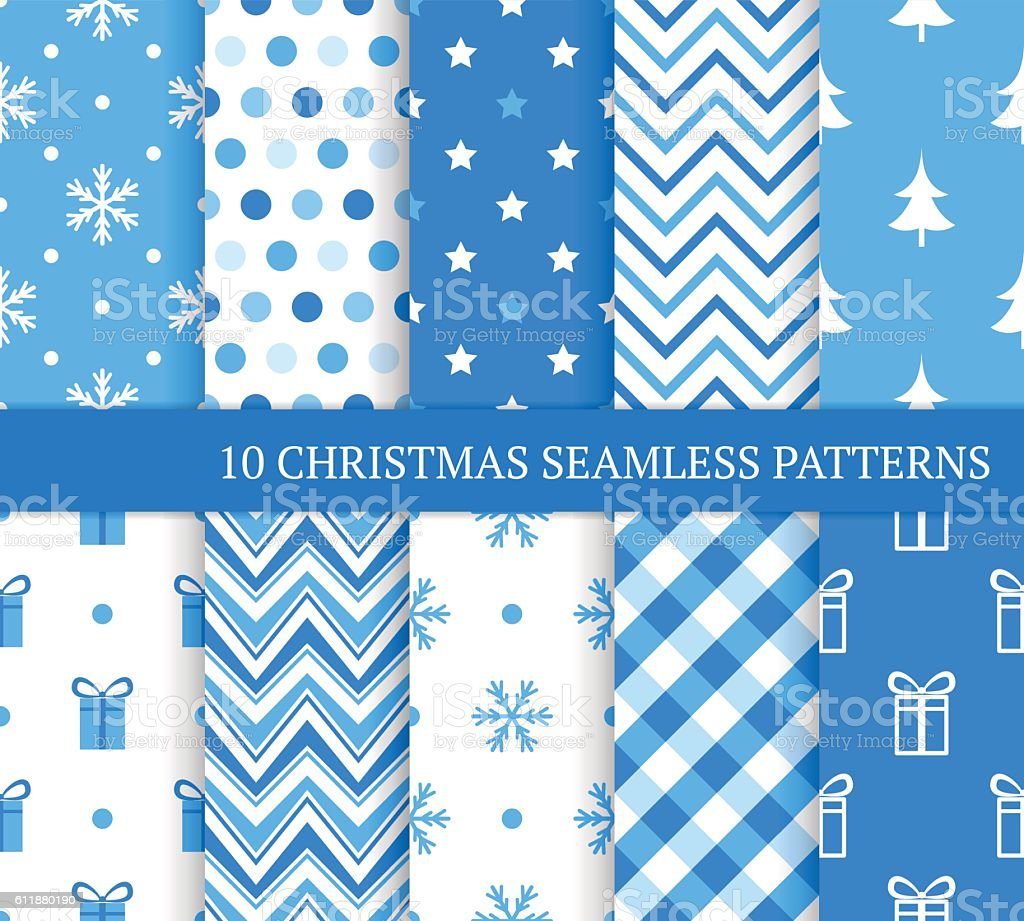 Ten blue Christmas different seamless patterns. vector art illustration