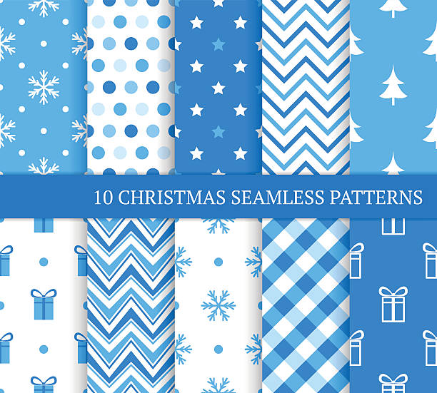 ten blue christmas different seamless patterns. - 포장지 stock illustrations