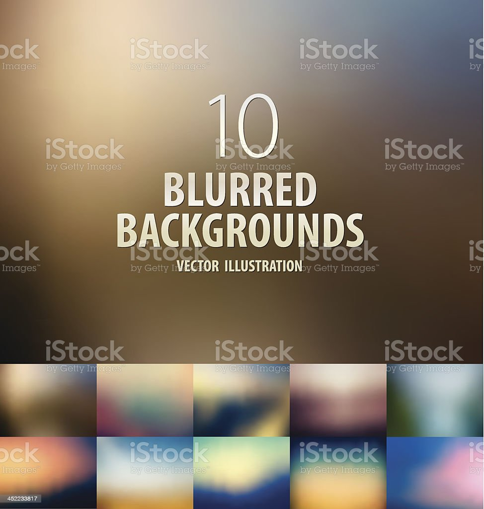 Ten blurred colorful abstract backgrounds vector art illustration