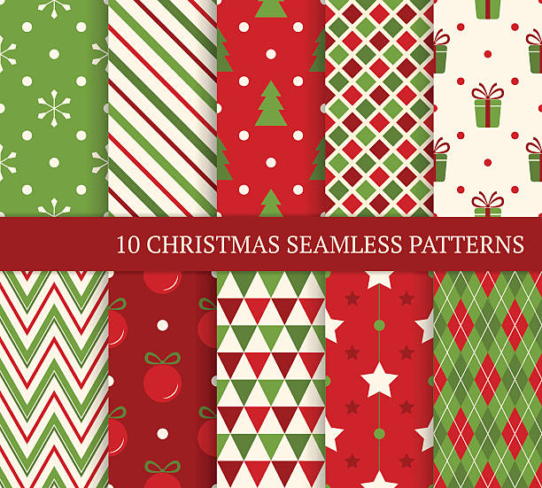 Ten Christmas different seamless patterns. 10 Christmas different seamless patterns. Endless texture for wallpaper, web page background, wrapping paper and etc. Retro style. wrapping stock illustrations