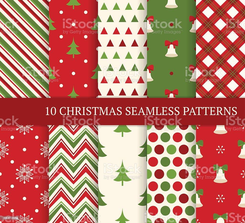 Ten Christmas different seamless patterns. vector art illustration