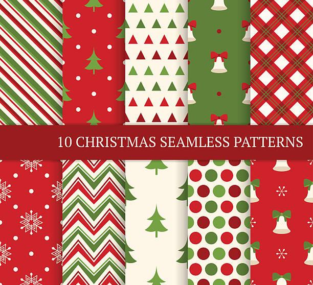 ilustrações de stock, clip art, desenhos animados e ícones de dez de natal diferente padrões sem costuras. - embrulhado