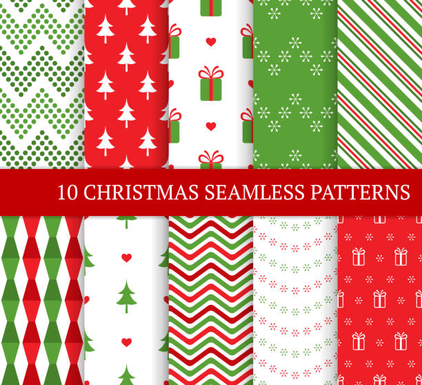 Ten Christmas different seamless patterns. Xmas endless texture for wallpaper, web page background, wrapping paper and etc. Retro style. Snowflakes, zigzag and Christmas tree. Ten Christmas different seamless patterns. Xmas endless texture for wallpaper, web page background, wrapping paper and etc. Retro style. Snowflakes, zigzag and Christmas tree. christmas patterns stock illustrations