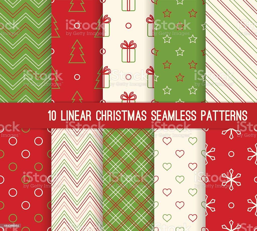 Ten Christmas linear seamless patterns. vector art illustration