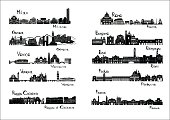 Ten cities of Italy  - silhouette signts