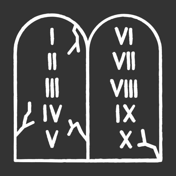 Ten Commandments Bible story chalk icon. Biblical laws written on stone tablets. Religious legend. Christian religion, holy book narrative, sacred scene. Isolated vector chalkboard illustration Ten Commandments Bible story chalk icon. Biblical laws written on stone tablets. Religious legend. Christian religion, holy book narrative, sacred scene. Isolated vector chalkboard illustration moses religious figure stock illustrations