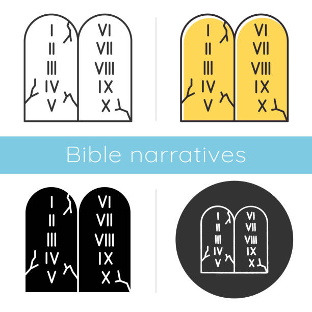 Ten Commandments Bible story icon. Biblical laws written on stone tablets. Religious legend. Holy book narrative, sacred scene. Glyph, chalk, linear and color styles. Isolated vector illustrations Ten Commandments Bible story icon. Biblical laws written on stone tablets. Religious legend. Holy book narrative, sacred scene. Glyph, chalk, linear and color styles. Isolated vector illustrations moses religious figure stock illustrations