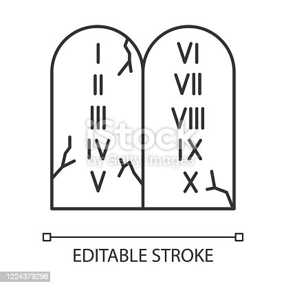 istock Ten Commandments Bible story linear icon. Biblical laws written on stone tablets. Religious legend. Thin line illustration. Contour symbol. Vector isolated outline drawing. Editable stroke 1224379298