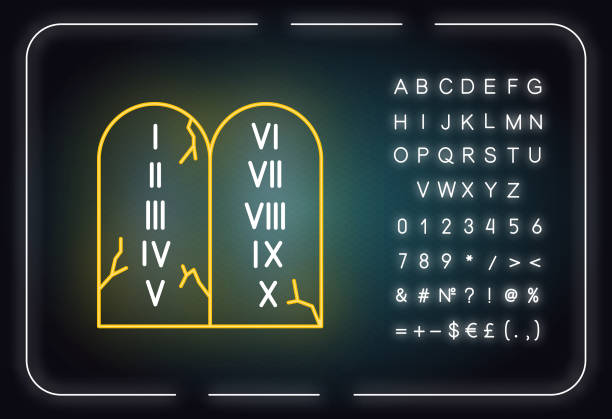 Ten Commandments Bible story neon light icon. Biblical laws written on stone tablets. Religious legend. Glowing sign with alphabet, numbers and symbols. Vector isolated illustration Ten Commandments Bible story neon light icon. Biblical laws written on stone tablets. Religious legend. Glowing sign with alphabet, numbers and symbols. Vector isolated illustration moses religious figure stock illustrations