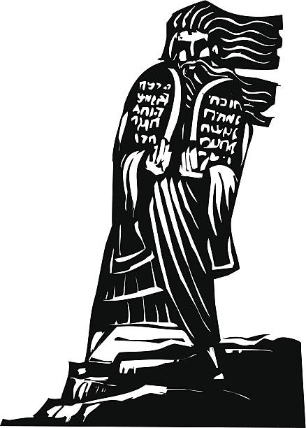 Ten Commandments Woodcut style image of the Biblical Moses bringing the ten commandments down from the mountain. moses religious figure stock illustrations