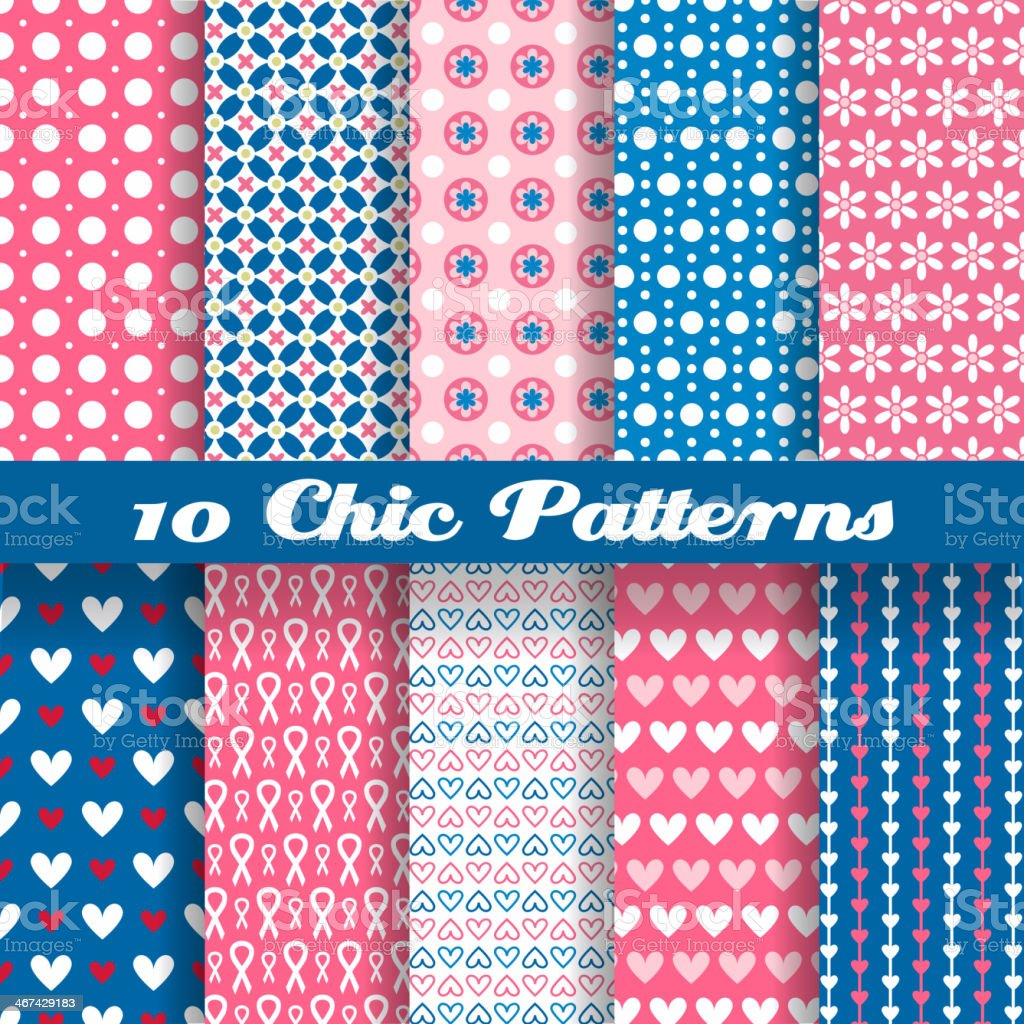 Ten different chic vector patterns royalty-free stock vector art