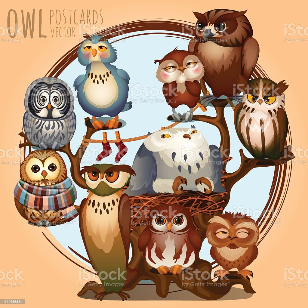 Ten different owls on a branch, cartoon series vector art illustration