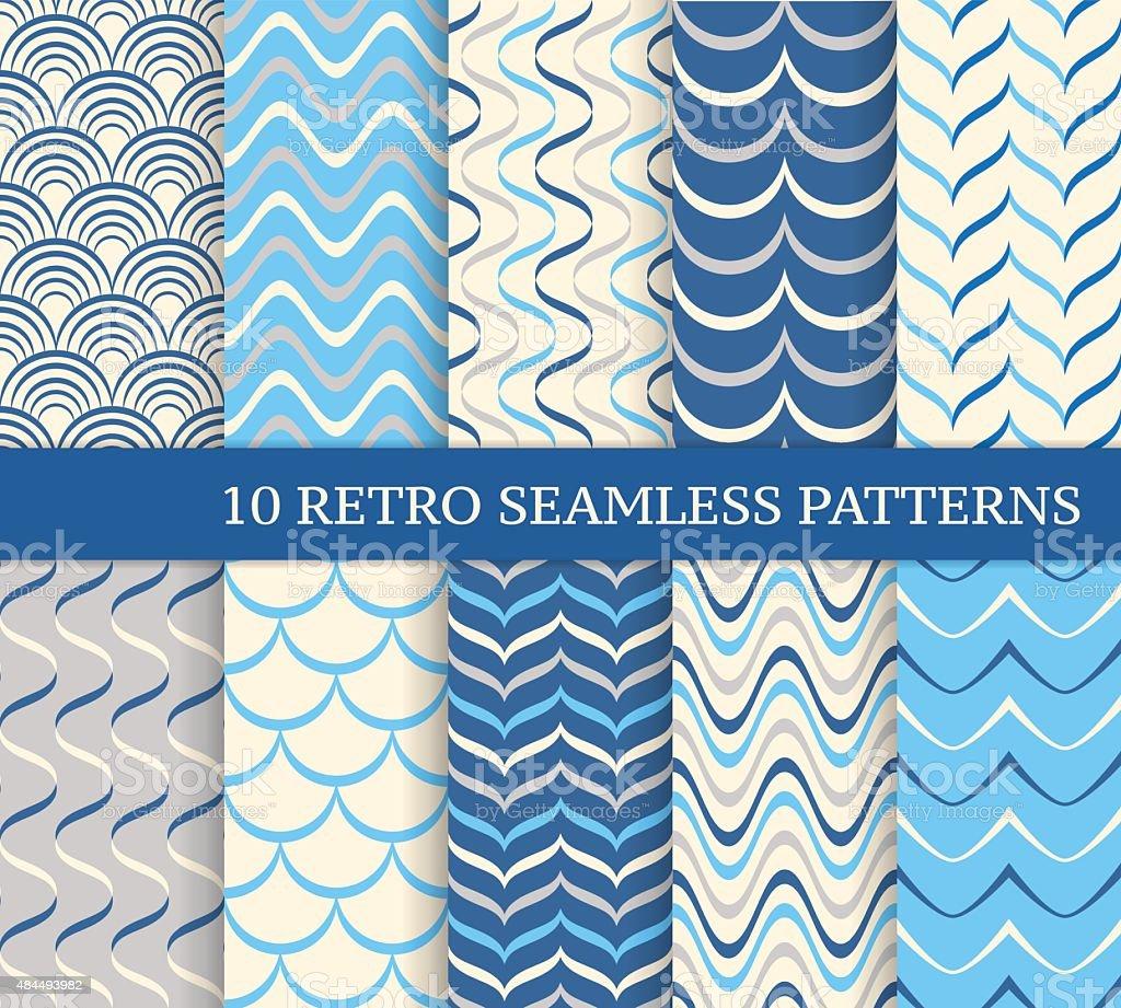 Ten different wavy retro seamless patterns. vector art illustration