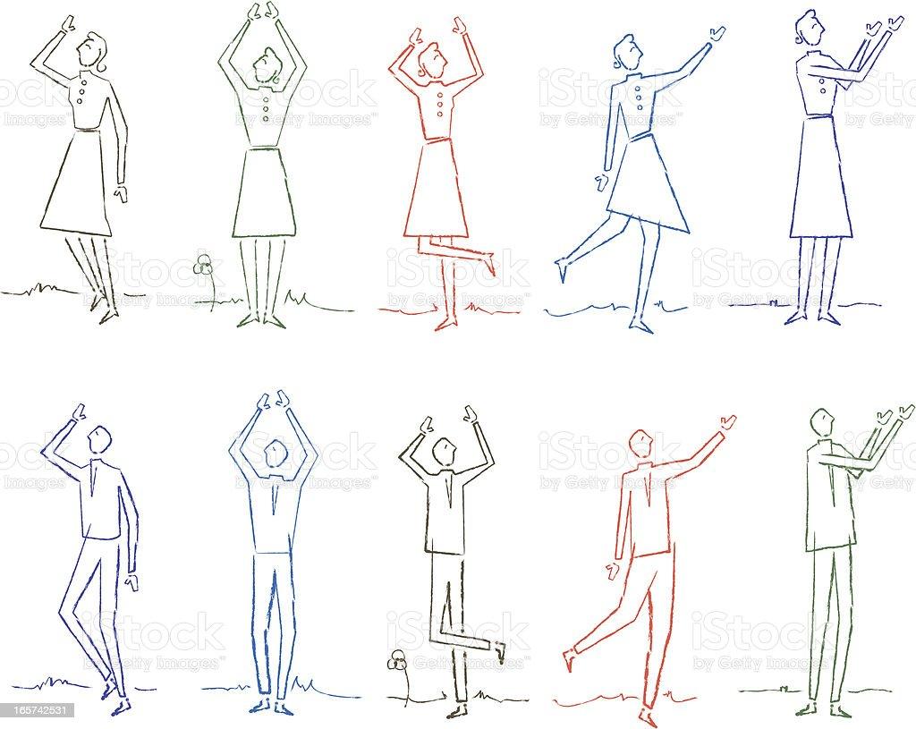 Ten Doodle People vector art illustration
