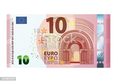 istock Ten euro banknote isolated on white background 625853332