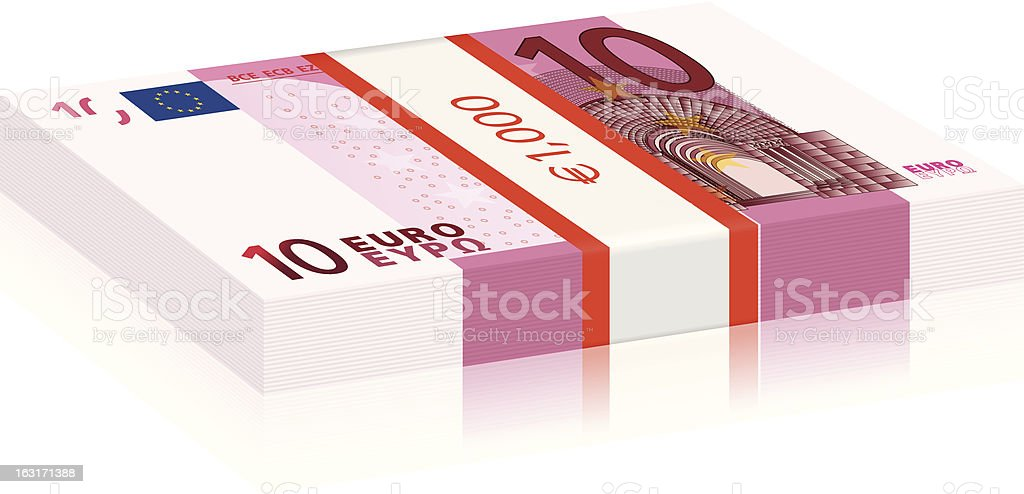 ten euro stack vector art illustration