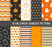 Ten Halloween different seamless patterns. Endless texture for wallpaper, web page background, wrapping paper. Smiling cute ghosts and pumpkins