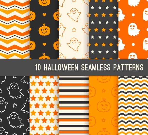 bildbanksillustrationer, clip art samt tecknat material och ikoner med tio halloween olika sömlösa mönster. ändlösa konsistens för tapet, webbsidans bakgrund, omslagspapper. leende söta spöken och pumpor - halloween background