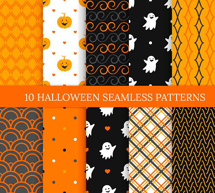 Ten Halloween different seamless patterns. Endless texture for wallpaper, web page background, wrapping paper and etc. Smiling cute ghosts, pumpkins, polka dots and wavy lines