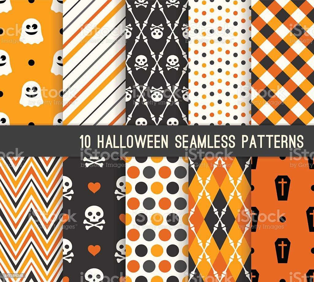Diez Halloween diferentes patrones perfectos. - ilustración de arte vectorial