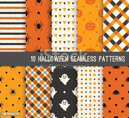 Ten Halloween different seamless patterns. Endless texture for wallpaper, web page background, wrapping paper and etc. Pumpkin and spiders