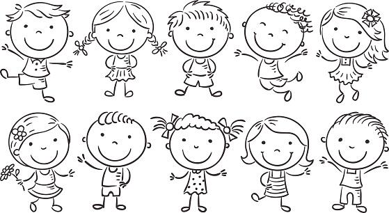 Ten Happy Cartoon Kids, outline