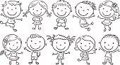Ten happy cartoon kids, black and white outline.