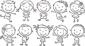 Ten happy cartoon kids, black and white outline.