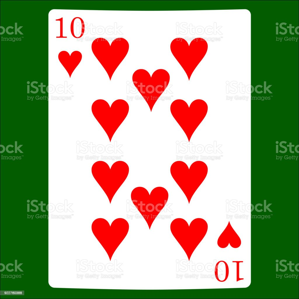 Ten Hearts Card Suit Icon Vector Playing Cards Symbols Vector Set