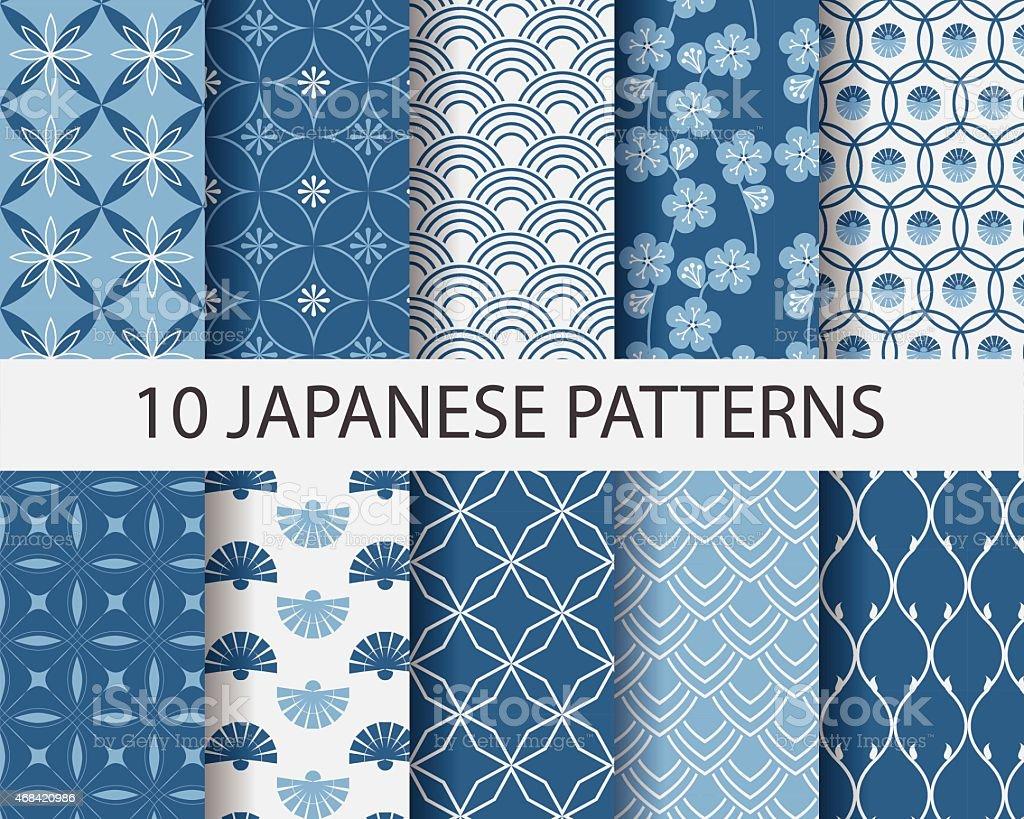 Ten Japanese geometric patterns in blue vector art illustration