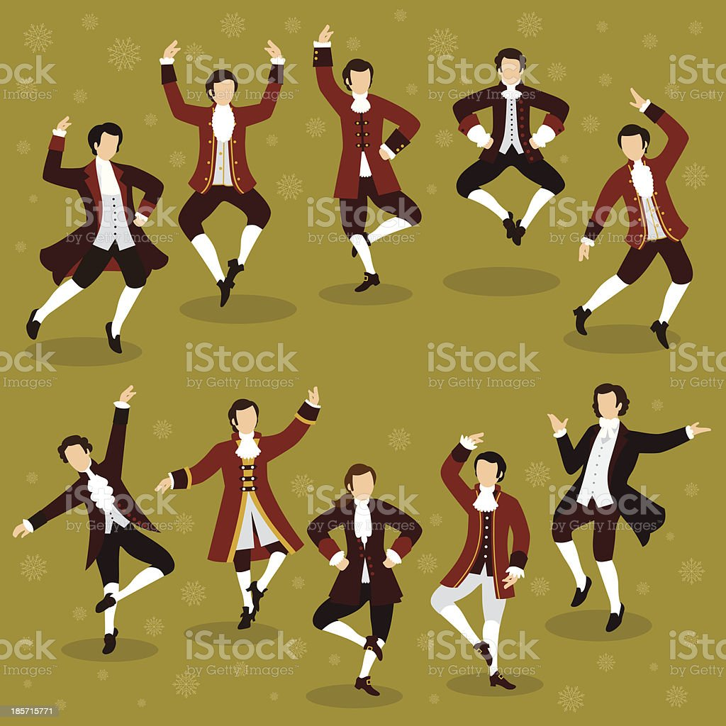Ten Lords a Leaping vector art illustration