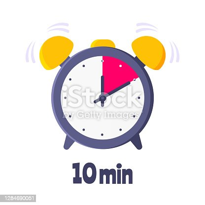 istock Ten minutes on analog clock face flat style design vector illustration icon sign isolated on white background. 1284690051