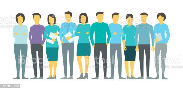Ten people in line group business team persona stock vector vector id877811168?b=1&k=6&m=877811168&s=612x612&h=yx a0 f2l17kbnmwxznkvdroqghxf3l9suefsi72eyy=