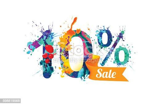 10 (ten) percents sale. Watercolor vector splash paint