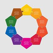Ten pieces puzzle pentagon diagram. Pentagons business presentation infographic. 10 steps, parts, pieces of process diagram. Section compare banner. Jigsaw puzzle info graphic. Marketing strategy.