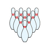 Ten pin Bowling ball illustration in a white background For assembly Or creates teaching material for mothers who do Homeschool And teachers who find pictures for teaching materials such as flashcards or children's books.