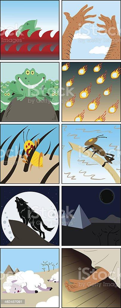 Ten Plagues From Passover vector art illustration